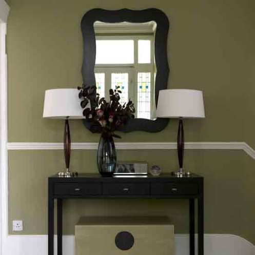 olive green entry hallway