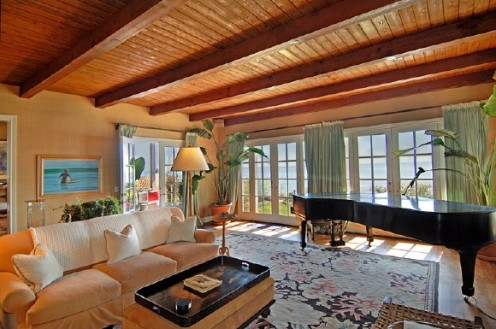 nautical beach home living room with piano