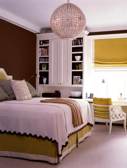 brown white yellow green modern bedroom with globe chandelier
