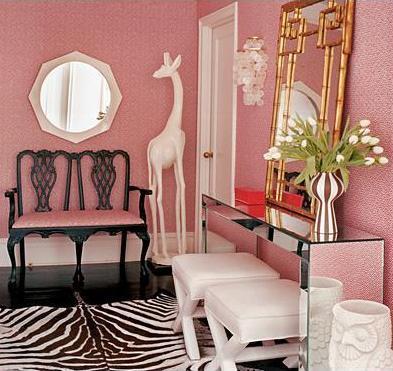 pink white and black entry hallway modern mirror loveseat giraffe, mirror table