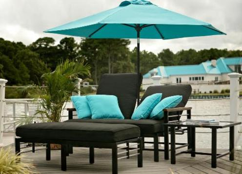 rattan wicker black and blue sunbed furniture