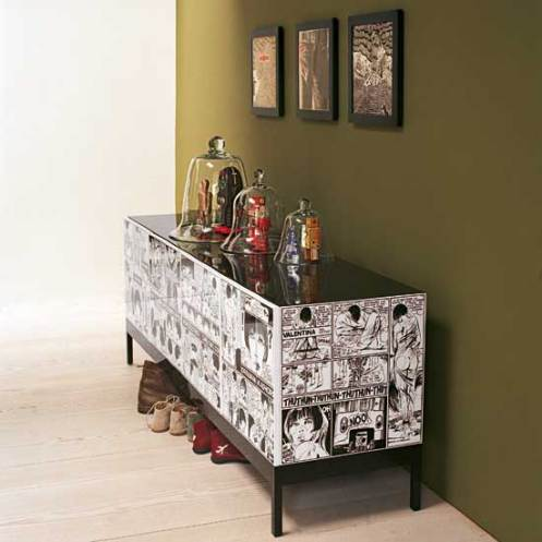 comic book furniture olive green and white hall