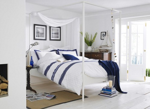 white and blue nautical style master bedroom
