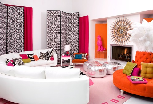 modern living room colorful