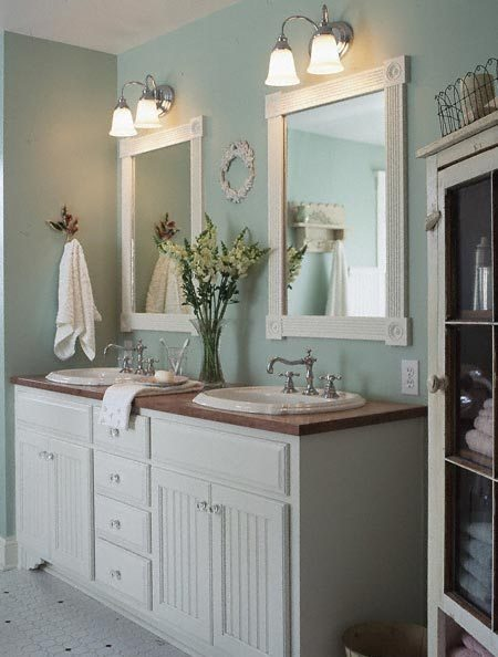 light baby blue and white romantic country style Bathroom