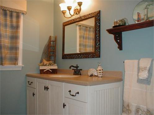 nautical interior style Bathroom blue and white with mirror
