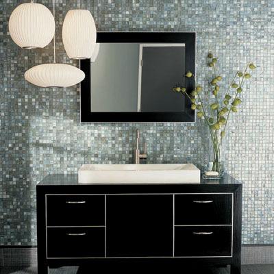 light blue pearl mosaic tiles black modern Bathroom