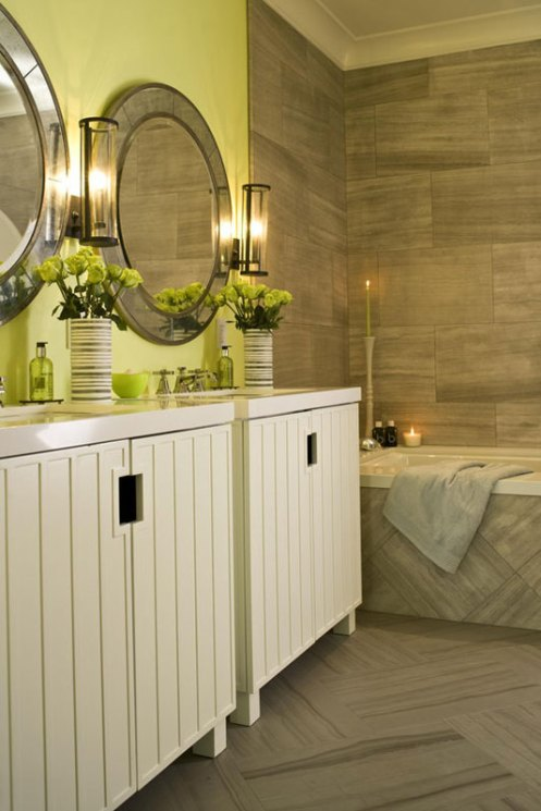 rew brick tiles grey and apple green white bathroom modern classic beacht