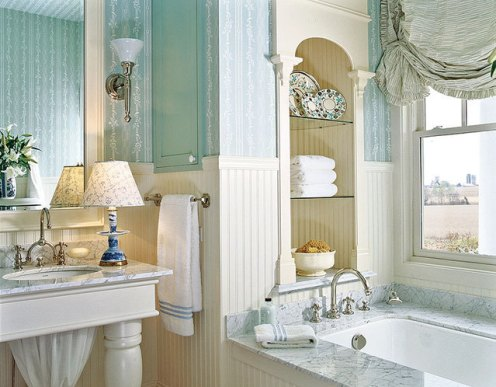 classic blue Bathroom romantic country style
