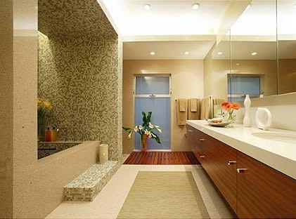 modern wood natural sand beige bathroom