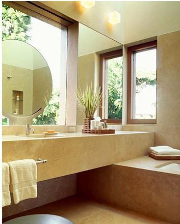 home spa bathroom natural look, beige brown green