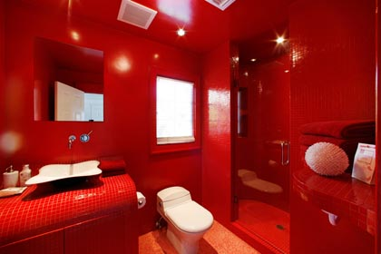 red modern bathroom