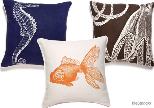 beachy pillows cushions sea horse, gold fish, octopuss, blue, brown orange