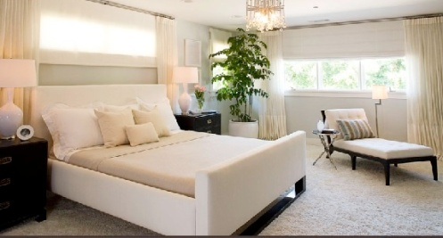 Posh modern white bedroom with chandelier and carpet rug
