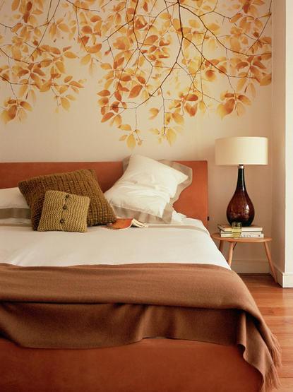 orange autumn color bedroom leaf mural