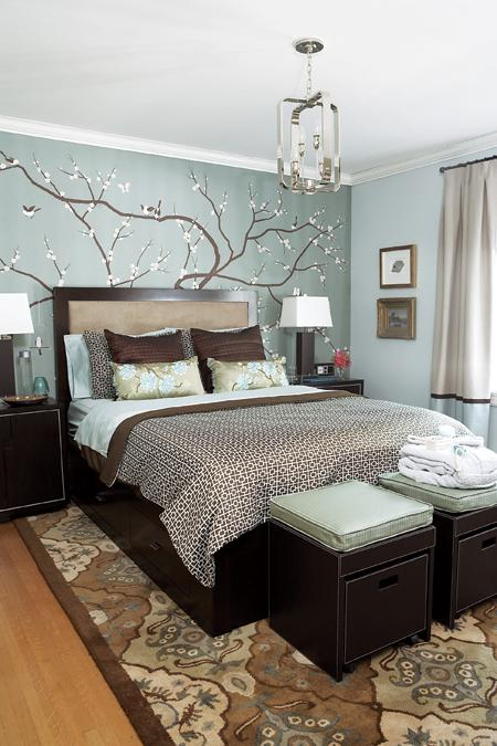 light blue and brown brdroom with chandelier tree mural headboard modern
