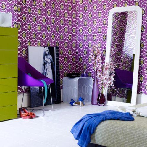 retro modern bedroom purple yellow white with mirror