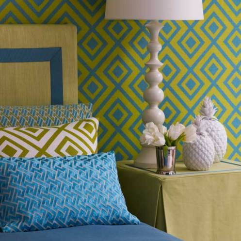 retro modern bedroom geometric wallpaper green and blue