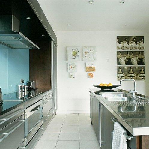 modern blue ans white kitchen