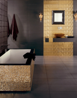 black and gold bathroom black floor
