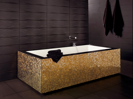 black and gold bathroom tiles gold mosaic bathtub