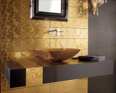 black and gold bathroom tiles mirror
