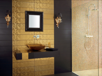 black and gold tiles bathroom shower