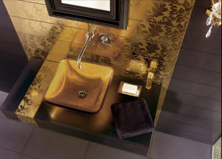 black and gold tiles bathroom