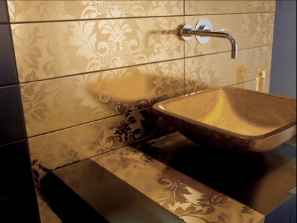 blackandgold tiles bathroom gold sink