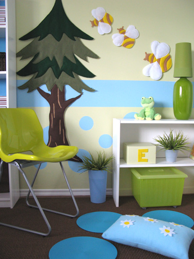 white blue green kids room