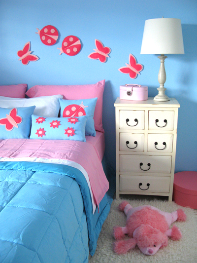blue and pink kids room girl with butterfly decor