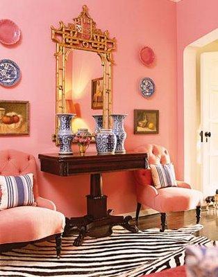 pink entry hallway zwbra skin rug modern chinese lattice mirror