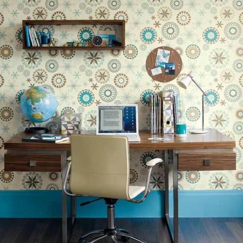 blue cream and brown retro wallpaper desk home office