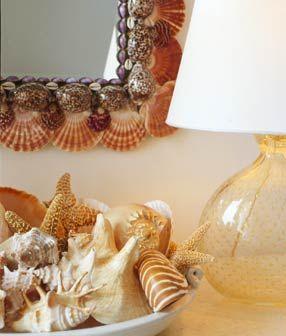 beach style home sea shell details mirror frame