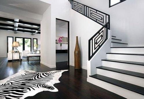 black and white stairway, chinese lattice fence, zebra rug