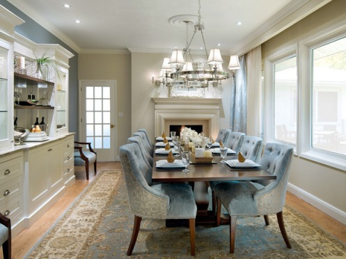 cream and powder blue classic dining room