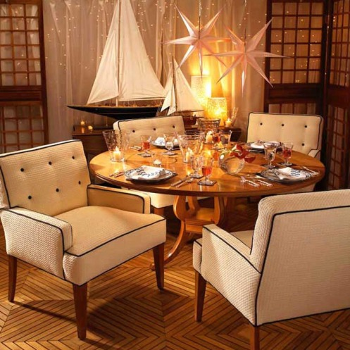 nautical interior, beige brown, atmosphere, dining area, sail boat