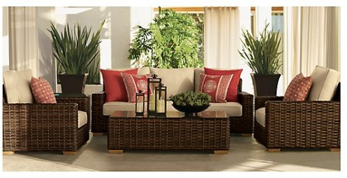 rattan patio furniture cream and red