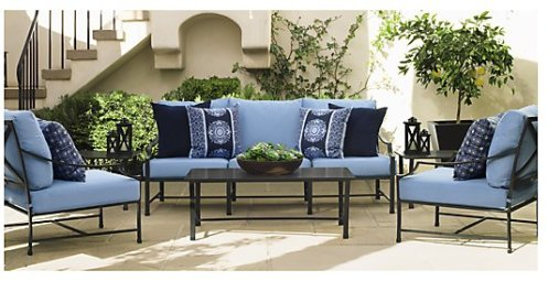 black and blue iron patio furniture