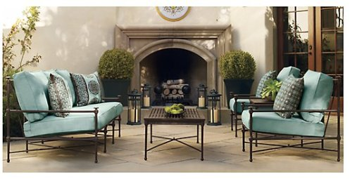 black and turquoise iron patio furniture
