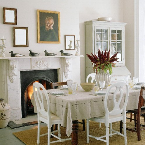 romantic country style white dining room