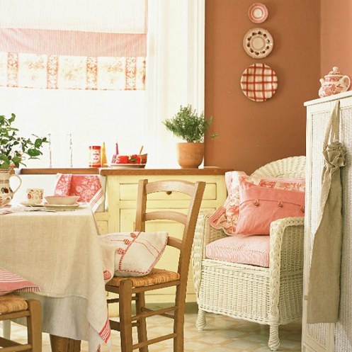 white, pink and chocolate brown romantic country home kitchen