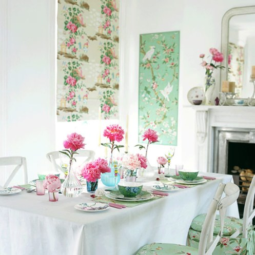 white and mint green with pink roses romantic country diningroom