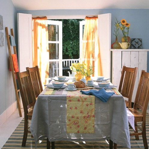 blue and yellow dining room romantic country beach style