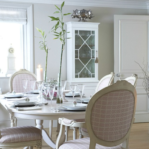 romantic country dining room white and beige
