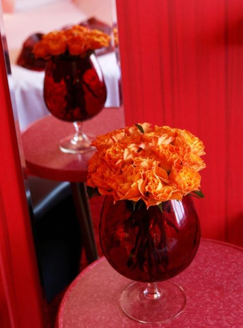 red bedroom orange flower detail