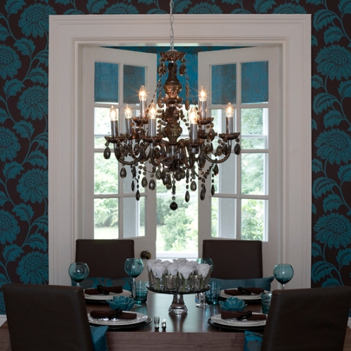 brown and blue turquoise dining room table setting