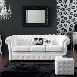 black and white modern living room lounge, white sofa and chandelier