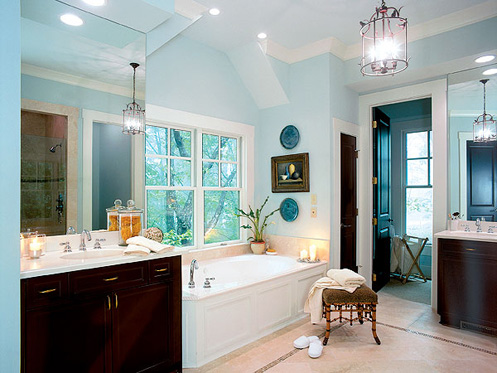 light blue and white nautical beachy style bathroom