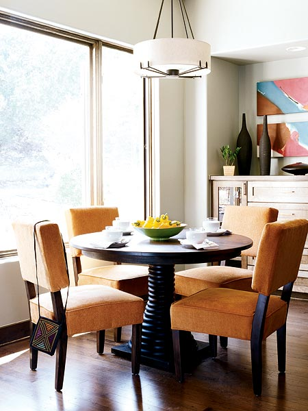 terracotta saffron black dining room
